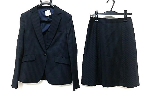 クミキョク スカートスーツ レディース美品  ネイビー×グレー×ライトブルー