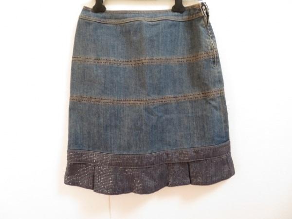 トゥービーシック スカート サイズ44 L レディース美品  ネイビー×グレー