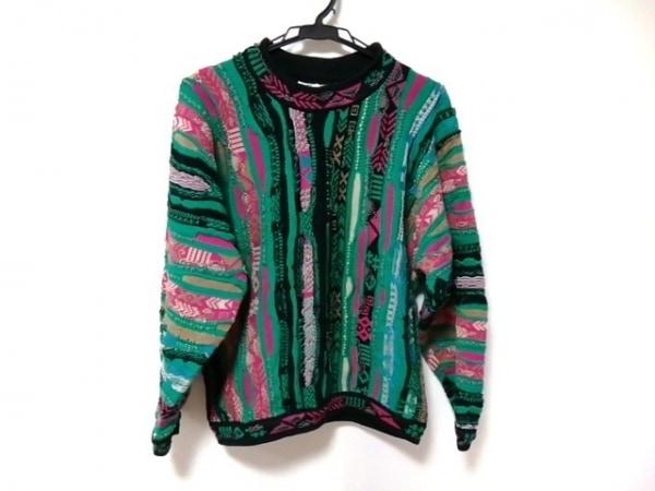 COOGI/CUGGI(クージー) 長袖セーター サイズS レディース美品  黒×グリーン×マルチ