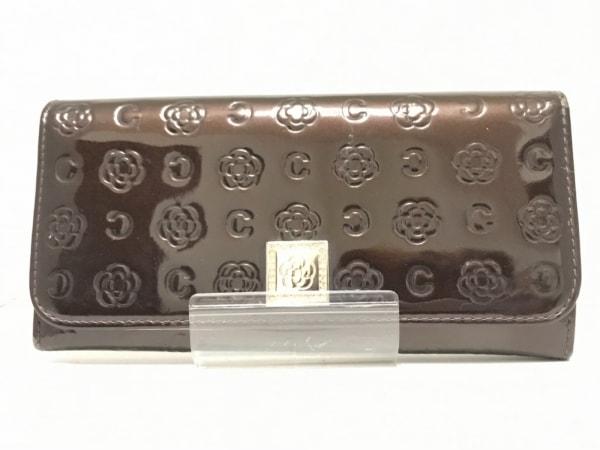 クレイサス 長財布 ダークブラウン 型押し加工/ラインストーン/花柄 エナメル(合皮)