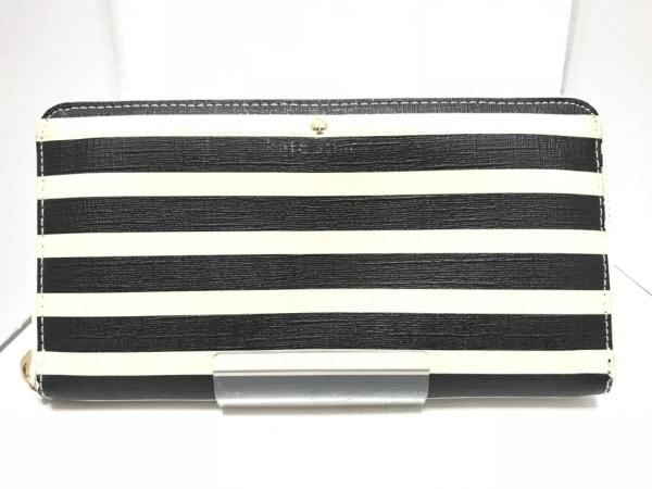ケイトスペード 長財布 PWRU4235 アイボリー×黒 ラウンドファスナー/ボーダー