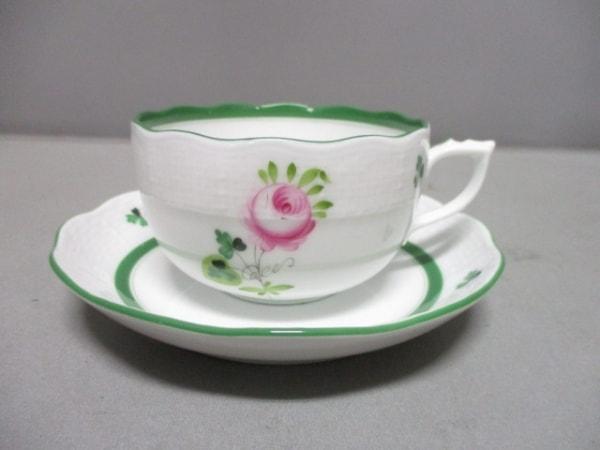 Herend(ヘレンド) カップ&ソーサー新品同様  白×グリーン×ピンク 陶器