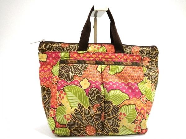 LESPORTSAC(レスポートサック) ハンドバッグ オレンジ×ダークブラウン×マルチ 花柄