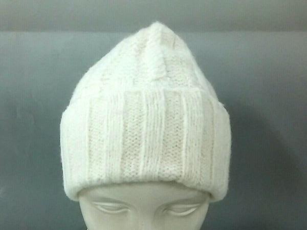 ARMANIEX(アルマーニエクスチェンジ) ニット帽美品  白 ウール×ポリアミド