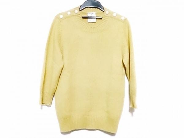 シャネル 七分袖セーター サイズ34 S レディース美品  P45624 イエロー カシミヤ