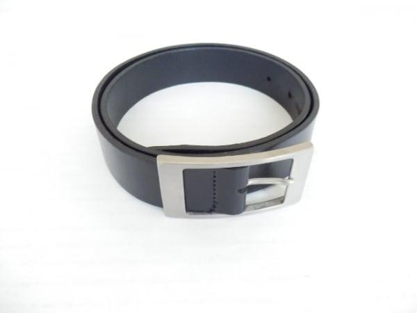 agnes b(アニエスベー) ベルト 75/30 黒×シルバー レザー×金属素材