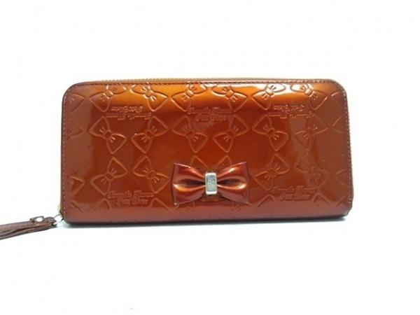 サマンサタバサ 長財布 オレンジ リボン/型押し加工 エナメル(合皮)