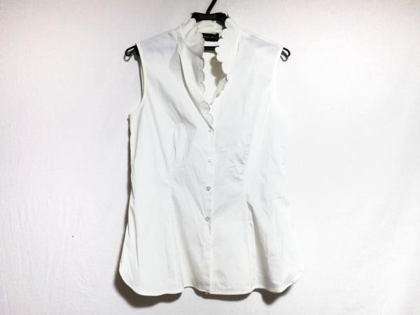 レナランゲ ノースリーブシャツブラウス サイズ42 L レディース美品  白 フリル