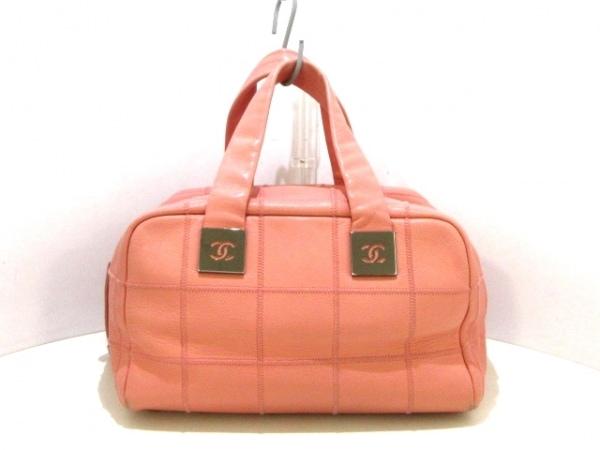 CHANEL(シャネル) ハンドバッグ チョコバー ピンク シルバー金具 キャビアスキン