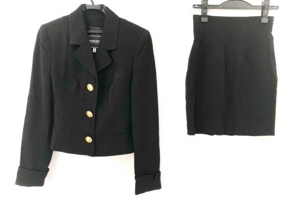ヴェルサーチジーンズ スカートスーツ サイズ42 L レディース美品  黒