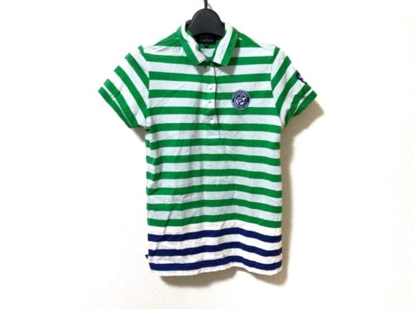 パーリーゲイツ 半袖ポロシャツ サイズ0 XS レディース美品  グリーン×白×ブルー