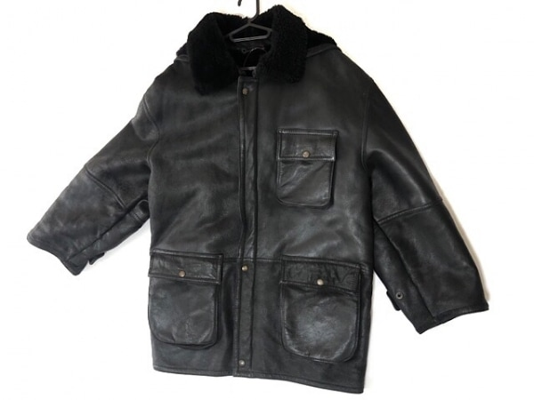 shearling(シャーリング) コート サイズM メンズ美品  黒 レザー/冬物
