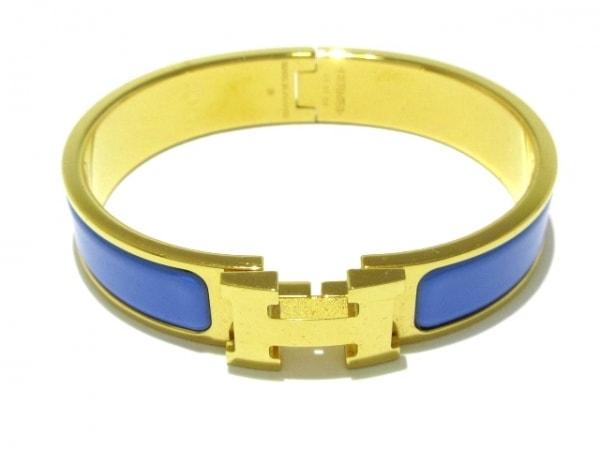 HERMES(エルメス) バングル美品  クリッククラック 金属素材 ゴールド×ライトブルー