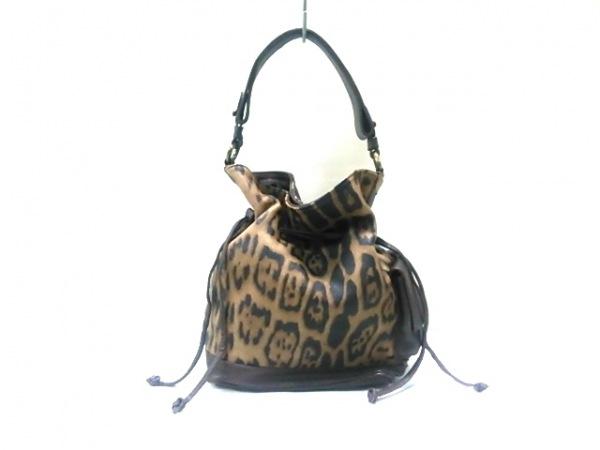 ローラディマジオ トートバッグ ベージュ×黒×ダークブラウン 豹柄 レザー