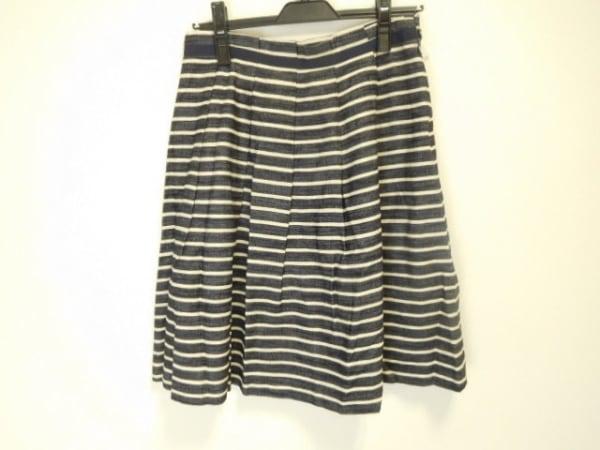 JOCOMOMOLA(ホコモモラ) スカート サイズ42 L レディース美品  ネイビー×白 ボーダー