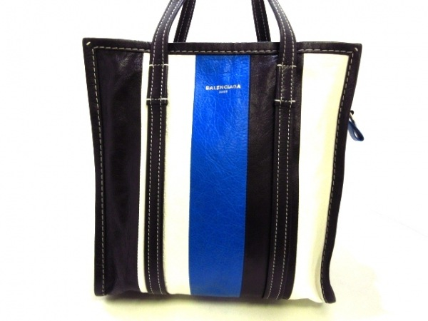 バレンシアガ ハンドバッグ バザールショッパーS 443096 黒×白×ブルー レザー