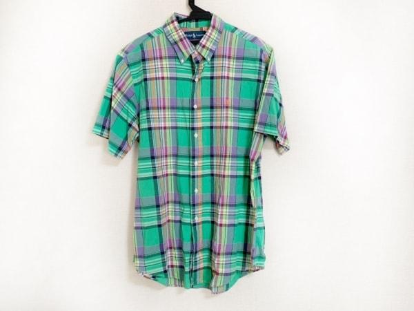 ラルフローレン 半袖シャツ サイズL メンズ美品  ライトグリーン×マルチ チェック柄