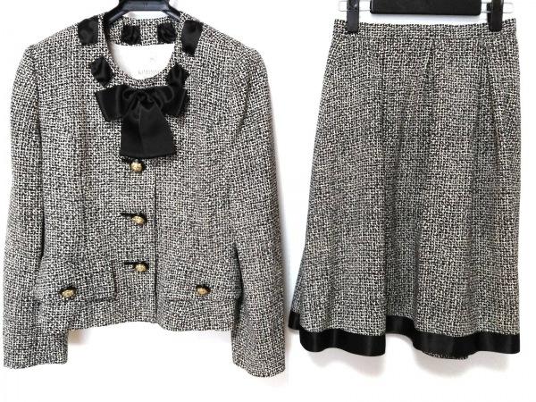 キミジマ スカートスーツ サイズ9 M レディース美品  黒×アイボリー リボン