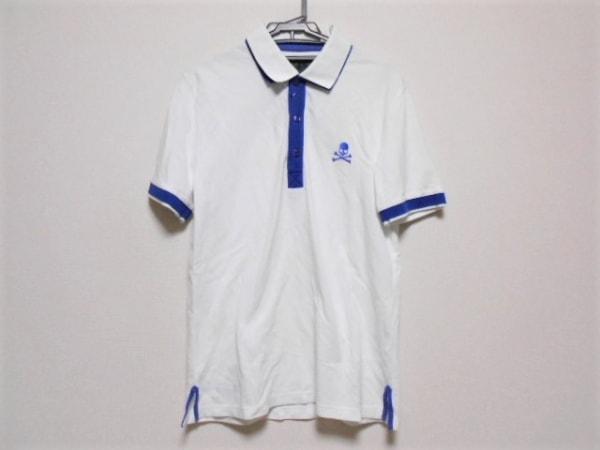PHILIPP PLEIN(フィリッププレイン) 半袖ポロシャツ サイズL メンズ 白×ブルー