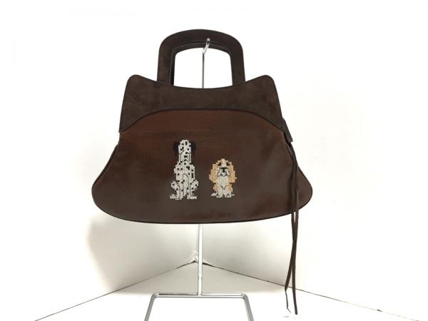 バーバラリール ハンドバッグ ダークブラウン 刺繍/犬 スエード×レザー