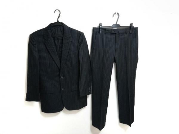コムサコレクション シングルスーツ サイズM メンズ 黒×白 ストライプ