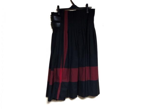 ワイズレッドレーベル 巻きスカート サイズ2 M レディース 黒×レッド チェック柄