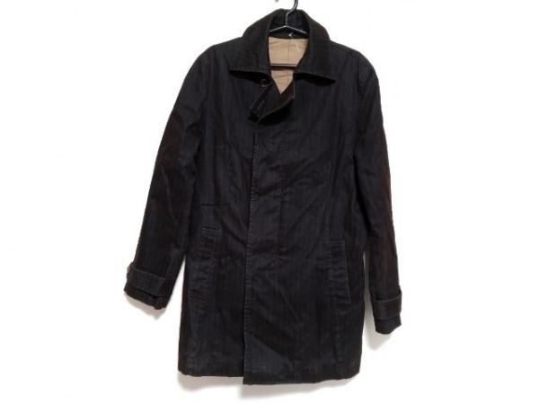 ムッシュニコル コート サイズ48 XL メンズ新品同様  黒×ダークグレー