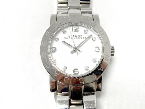 マークジェイコブス 腕時計美品  MBM3055 レディース ラインストーン 白×シルバー
