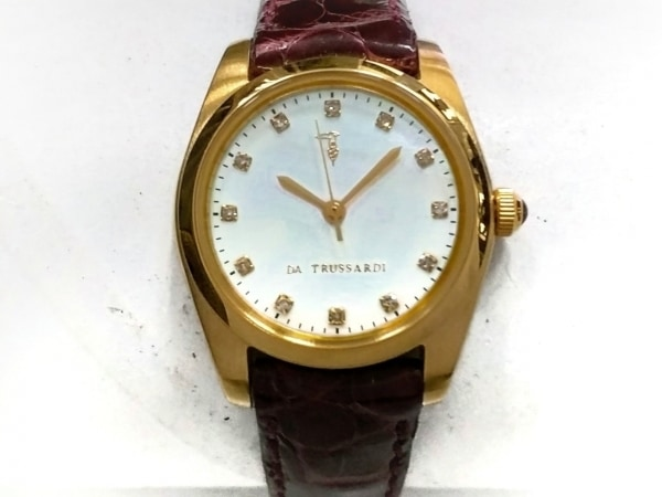 TRUSSARDI(トラサルディー) 腕時計美品  TRD-7829 レディース 革ベルト/シェル文字盤
