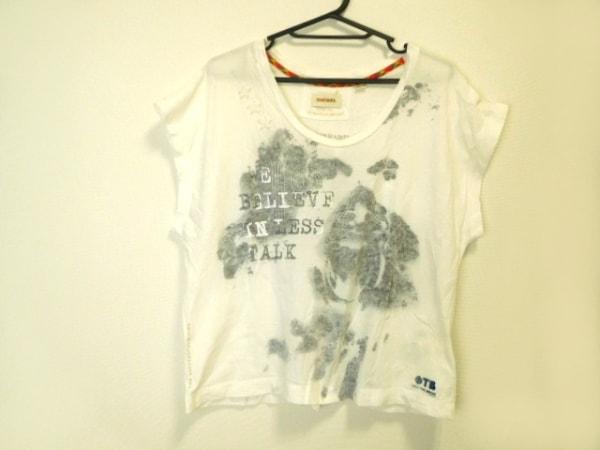 DIESEL(ディーゼル) 半袖Tシャツ サイズXS レディース美品  白×ダークグレー