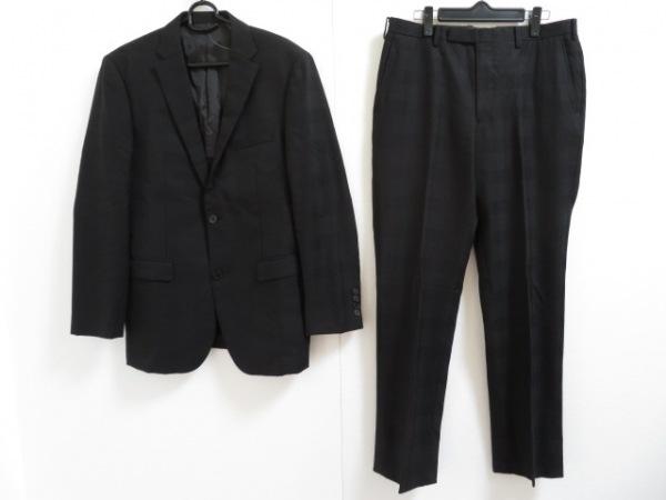 バーバリーブラックレーベル シングルスーツ サイズ40L メンズ美品  黒 チェック柄