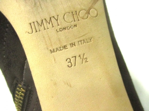 ジミーチュウ ショートブーツ 37 1/2 レディース ダークブラウン スエード×レザー