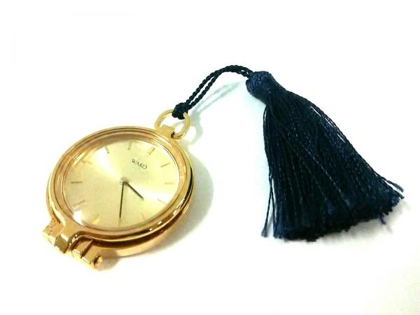 WAKO(ワコー) 小物美品  ゴールド×ネイビー 懐中時計×ルーペ / 動作確認できず