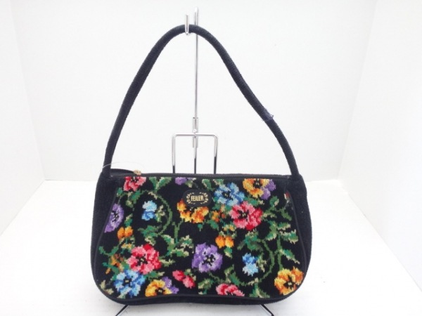 FEILER(フェイラー) ハンドバッグ 黒×マルチ 花柄 パイル