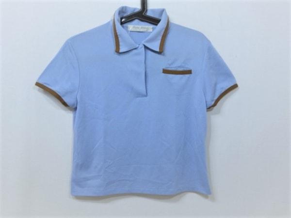 ミュウミュウ 半袖ポロシャツ サイズL レディース美品  ライトブルー×ブラウン