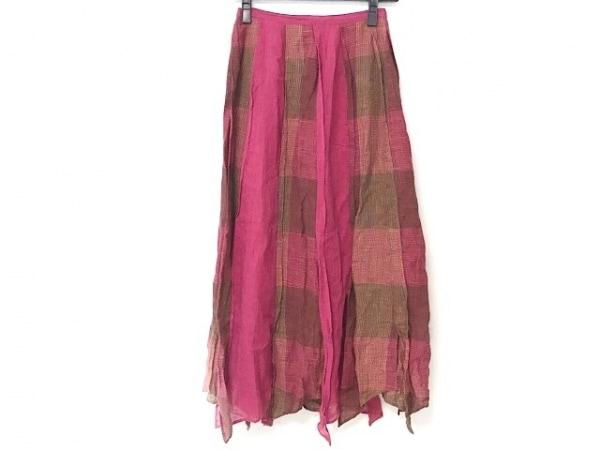 センソユニコ ロングスカート サイズ38 M レディース ピンク×ダークブラウン×マルチ