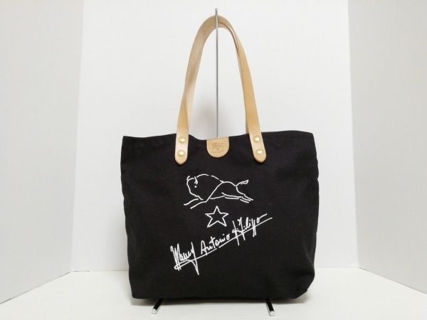 イルビゾンテ トートバッグ美品  黒×白×ライトブラウン キャンバス×レザー