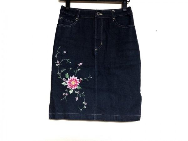 a.(エードット) スカート サイズ36 S レディース ネイビー×ピンク×グリーン