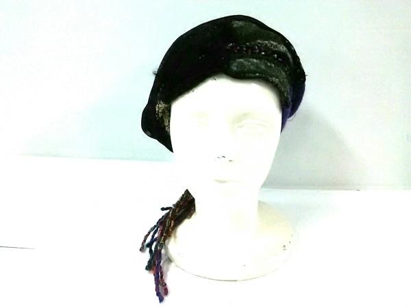 CA4LA(カシラ) 帽子美品  黒×パープル×マルチ フリンジ/ラメ ウール×化学繊維