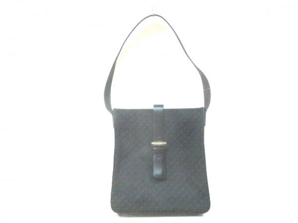 LOEWE(ロエベ) ショルダーバッグ美品  - 黒×ダークグリーン ジャガード×レザー