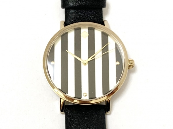 Kate spade(ケイト) 腕時計 0017 レディース 革ベルト/ストライプ 黒×白