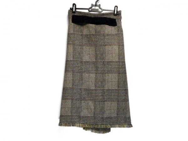 アカネ ウツノミヤ 巻きスカート サイズ36 S レディース グレー×レッド×マルチ