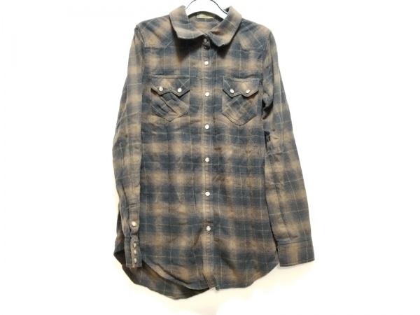 G.O.A/goa(ゴア) 長袖シャツ サイズF メンズ ブラウン×黒 チェック柄