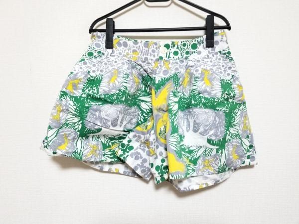 monikoto(モニコト) ショートパンツ レディース 白×グリーン×イエロー