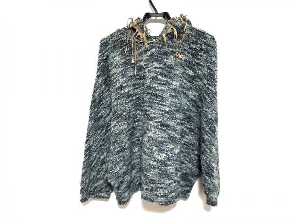 モニコト 七分袖セーター サイズF レディース美品  ベージュ×グリーン×マルチ