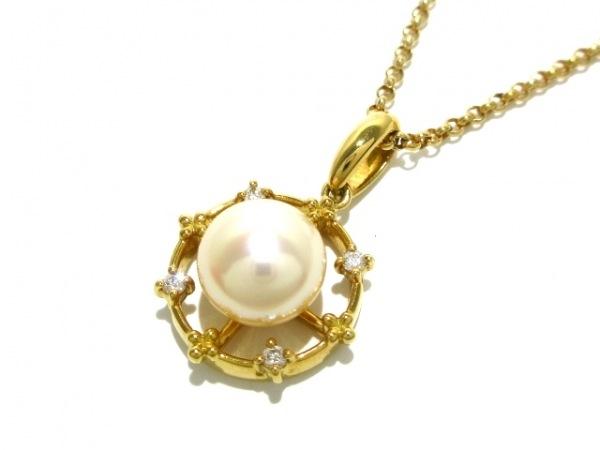 田崎真珠(タサキシンジュ) ネックレス美品  K18YG×ダイヤモンド×パール アイボリー