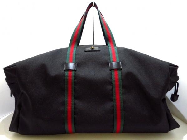 GUCCI(グッチ) ボストンバッグ美品  シェリー 450983 黒×グリーン×レッド ナイロン