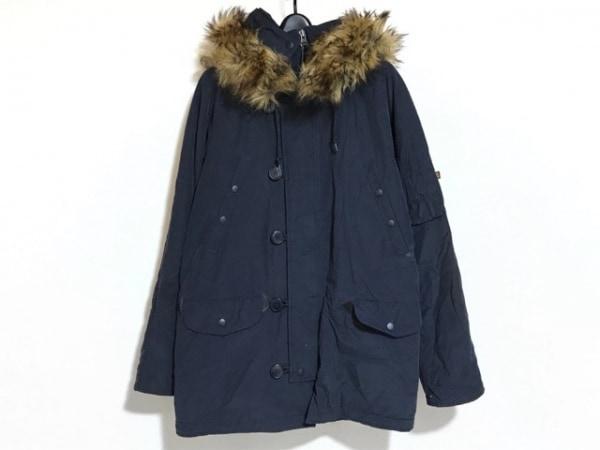 アルファ コート サイズM メンズ ネイビー フェイクファー/中綿/冬物