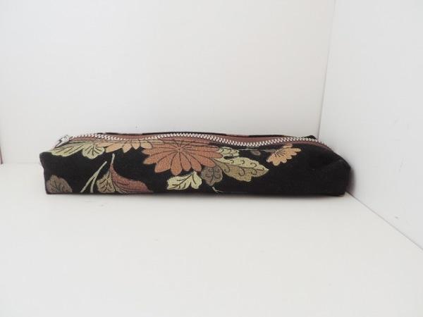 イチザワシンザブロウハンプ ペンケース 黒×ブラウン×マルチ 花柄 キャンバス
