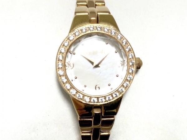 カナルヨンドシー 腕時計美品  - レディース シェル文字盤/ラインストーン 白